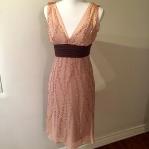 $195 BCBG MaxAzria Blush beaded cocktail dress 2